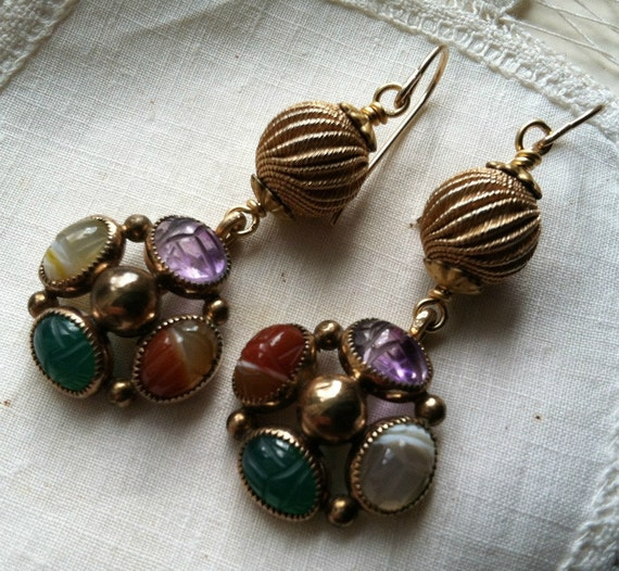 RESERVEDVintage Scarab Earrings