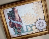 Jolly Old Saint Nicholas vintage framed collage Christmas Holiday decor vintage santa