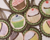 Handmade Cupcake Gift Tags with scalloped edge and glitter