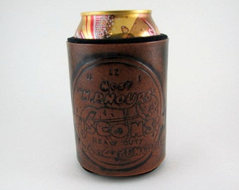 Leather Can Holder Farm Engine Leather Can Cooler Hand Tooled Leather Can Chiller