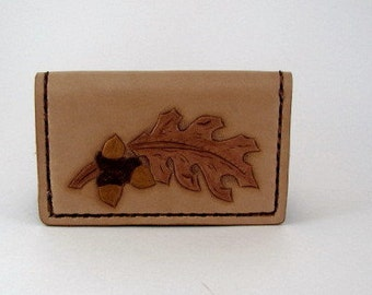 Leather Card Wallet Oak Leaf and Acorn
