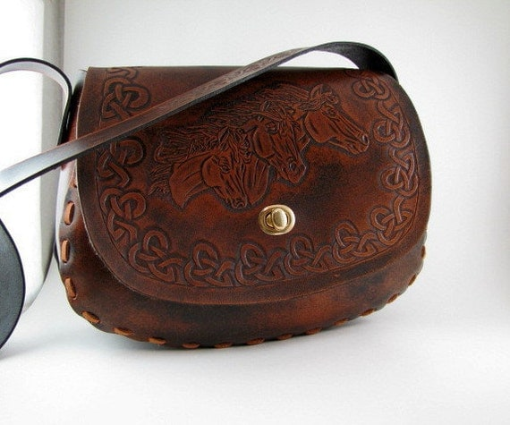 Leather Purse Mustang Horses Hand Tooled Hand Carved