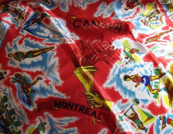 Summer Olympics 1976 Montreal Canada Souvenir Scarf in Vibrant Red