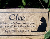 "Free Shipping- Cat Memorial Plaque - 12x6  ""Cleo"" Design -  Italian Porcelain Personalized  Sandblasted Engraving"