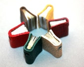 Tiny Book Necklace : Leather Bound Book Necklace in Burgundy Miniature READY TO SHIP