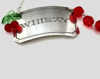 Whisky Liquor Tag Necklace with Sterling Silver