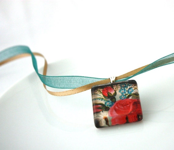 Roses and Bluebell Flowers Glass Tile Necklace