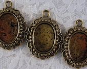 18x13mm Antique Gold - Beaded Victorian Lace Setting - 3pcs : sku 10.14.11.2 - P1