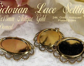Domed 18x13mm - Antique Gold - Victorian Lace Setting (3pcs) : sku 09.18.10.14 - D19
