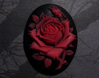 40x30mm Cameo - Red/Black - Rose Solitaire - 1pc : sku 05.21.11.18 - L7