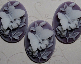 40x30mm Cameo - White/Amethyst - Butterfly - 3 pcs : sku 05.21.11.35 - L24