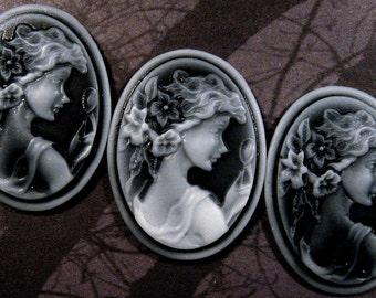 40x30mm Cameo - Translucent White on Black - Girl Holding Mirror - 3 pcs : sku 09.04.11.1 - N2