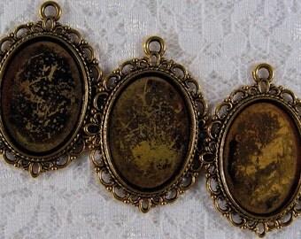 25x18mm Antique Gold Setting - Old World Lace - 3pcs : sku 10.14.11.5 - P4