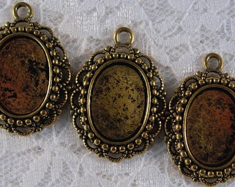 18x13mm Antique Gold - Beaded Victorian Lace Setting - 3pcs : sku 10.14.11.2 - P1