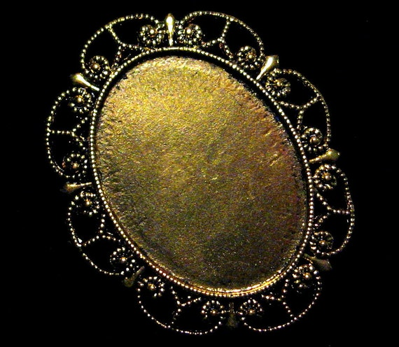 40x30mm Antique Gold Setting - Victorian Filigree - 1pc : sku 06.19.11.1 - M7