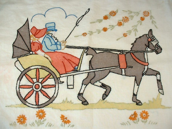 Vintage Embroidered Horse and Buggy Pillow Sham