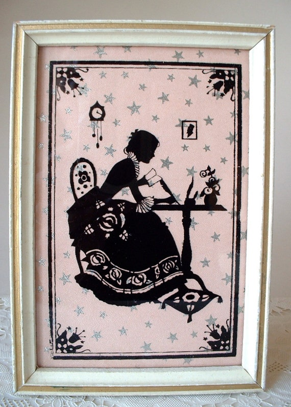 Starry Night Vintage Silhouette Lady Writing Her Memoirs