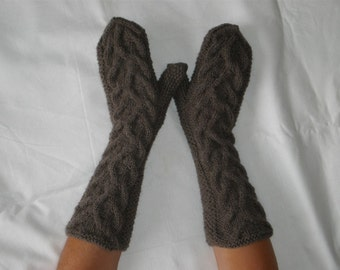 Hand knit cable mittens - Brown mittens - Mittens with cable pattern - Brow arm warmers - Long sleeve gloves - Warm brown long mittens