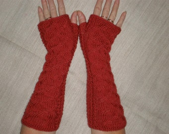 Red wrist warmers - Red cable mittens - Red cable arm warmers - Long red wrist warmers - Hand knit red cable gloves - Winter wrist warmers