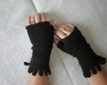 Hand-knitted women dark brown color wrist warmers,,Winter accessories - Pure wool mittens - Knitted gift ideas