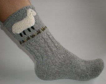 Hand-knitted light grey women socks with hand needlecrafted furry sheep