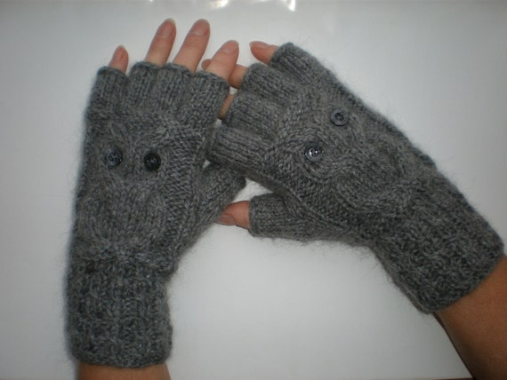 Hand-knitted women grey color fingerless gloves with knitted owl
