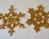 A Pair of Golden Snowflakes Christmas Tree Ornaments