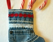 Upcycled Jeans Christmas Stocking Ornament with Red Flowers and White Rickrack