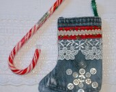 Upcycled Jeans Christmas Stocking Ornament with Vintage Lace, Trim & Buttons