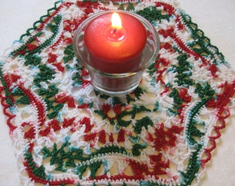 Red, White and Green Hexagon doily