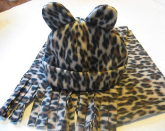 Leopard Fleece Scarf and Hat with Ears - Donation to Whatcom Humane Society