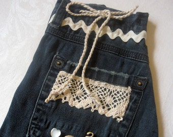 Upcycled Jeans/Vintage Trims Gift Bag
