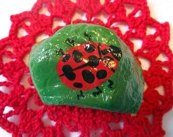 Ladybug rock art