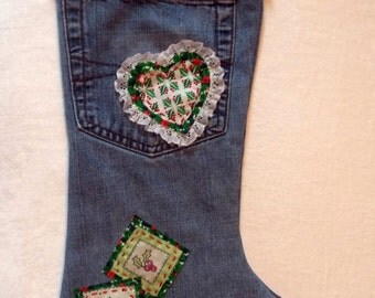 Upcycled Jeans Christmas Stocking