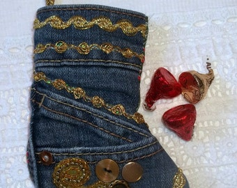 Upcycled Jeans Christmas Stocking Ornament with Vintage Gold Trim & Buttons