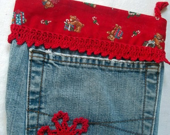 Upcycled Jeans Christmas Stocking With Crocheted Snowflakes