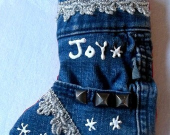 Upcycled Jeans Christmas Stocking Ornament with Vintage Lace & Painted Snowflakes