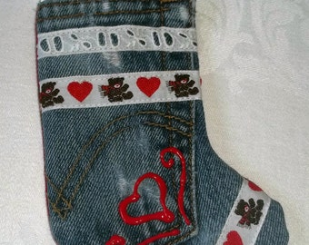 Upcycled Jeans Christmas Stocking Ornament with Vintage Lace & Trim