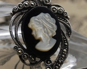 Carved Cameo Pendant Sterling Silver