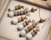 SALE - Earth Green Dangle Earrings\/ WAS 15