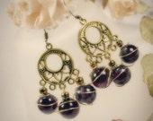 SALE - Purple Gold Dangle Earrings\/ WAS 20