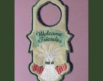 Embroidered door hanger,Thanksgiving Door Hanger, door hanger, Welcome Friends door hanger