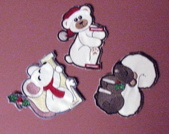Machine Embroidered Candy Cane Holders - white background