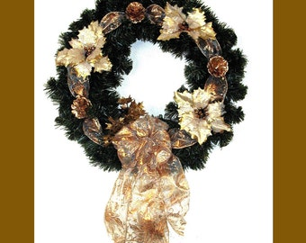 Gold Adorned Christmas Wreath for wall decor