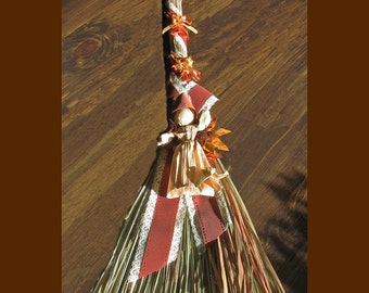 Wall decor, Autumn swag, autumn broom decor, Straw Broom decor, Corn husk Doll wall decor, Home decor, autumn colors,