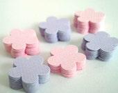 100 paper textured mini flowers confetti... purple, pink, ballet, lupine, mauve, bubble gum, cotton candy...mini die cut flowers