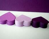 100 wedding hearts - plum, eggplant, violet, mauve, lavender, lilac, purple textured paper hearts confetti - die cut hearts