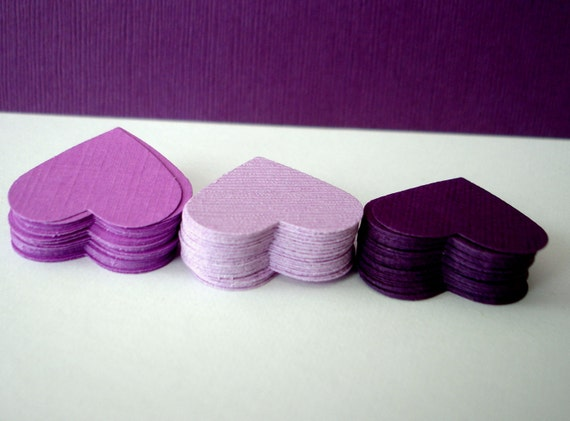 100 wedding hearts - plum, eggplant, violet, mauve, lavender, lilac, purple textured paper hearts confetti - die cut hearts