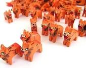 Wooden Lion Beads - Ten (10) Orange Lions