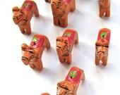 wooden llama beads -ten (10) llama - wooden animal beads